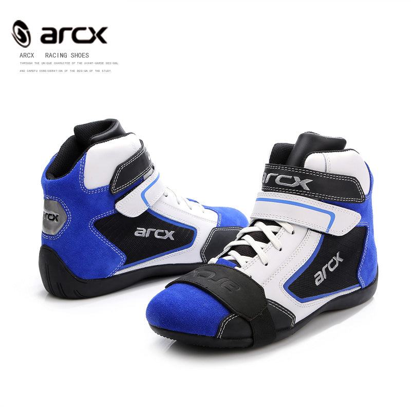 Motorcycle Leather Boots arcx biker Biker boot Cruiser Touring shoe Ankle Locomotive Shoes Riding Street blue Motorcycle Boots - Trivoshop