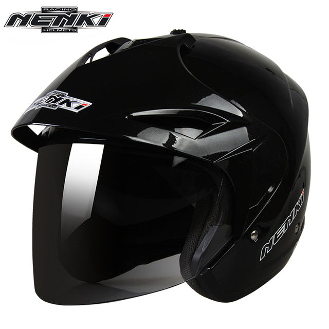 NENKI Motorcycle Helmet Open Face Vintage Style Motor Scooter Cruiser Touring Chopper Helmet with Dual Visor Sun Shield Lens 629