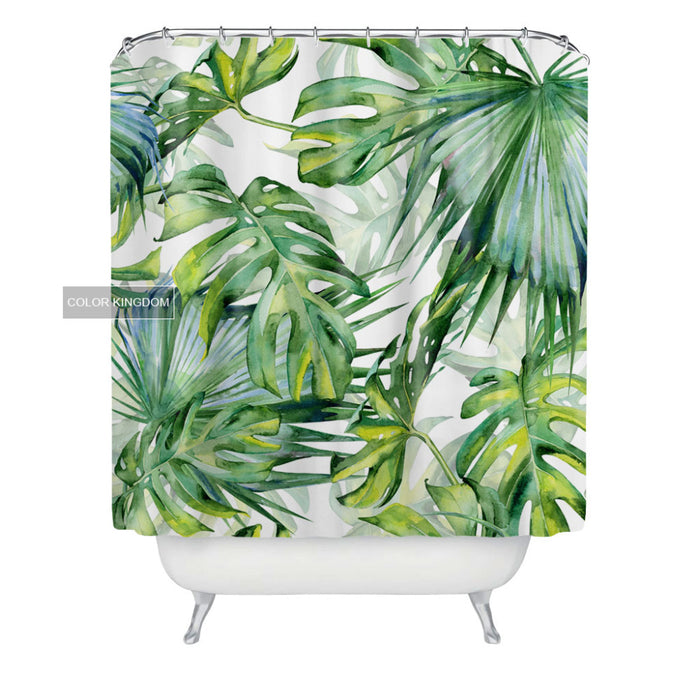 Green Banana Tropical Plants Picture Fabric Polyester Waterproof Mildew Resistant Shower Curtain 180CMX180CM Bathroom Curtain