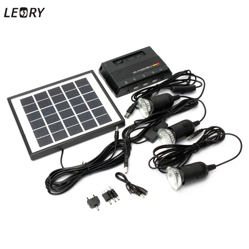 LEORY 5V 1000mAh Solar Energy Lamp LED Light Powered Energy 4W 6V Solar Camp Charger +3pcs 3.7V LED Light USB Charger