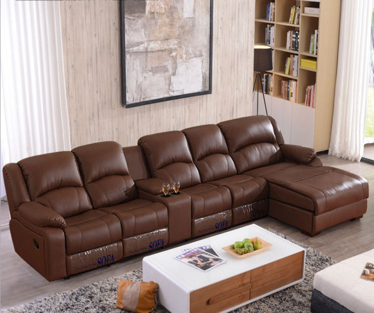living room sofa Recliner Sofa, cow Genuine Leather Sofa, Cinema 4 seater+coffee table+chaise sectional L shape home furniture - Trivoshop