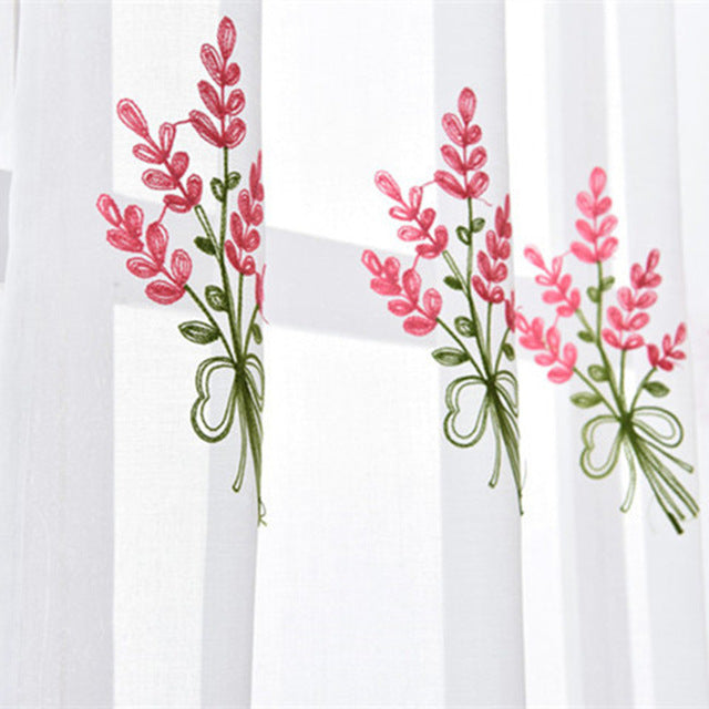 Luxury Embroidered Pink Lavender Flower Tulle Blue Curtains For Living Room Red Rose embroidery Curtains Purple Sheer AG057&2