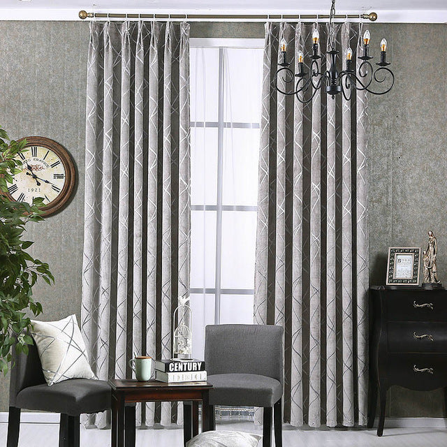 Chenille jacquard Silver Blackout Curtains