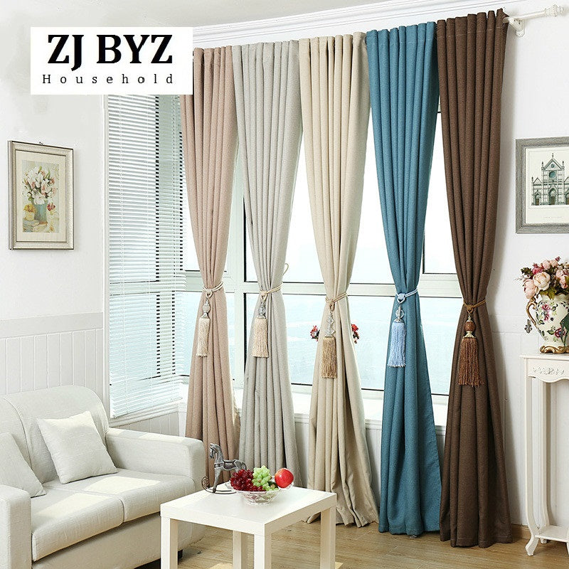Modern Minimalist Curtains for Bedroom Living Room Bedroom Linen Cotton Blackout Linen Shade Plain Rice Small Lattice Window