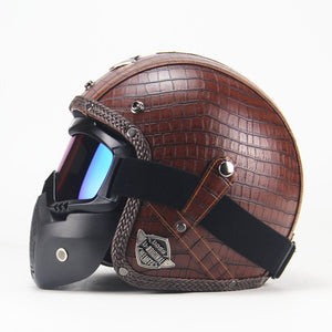 NEWEST Black Adult Open Face Half PU Leather Helmet Harley Moto Motorcycle Helmet vintage Motorcycle Motorbike Vespa with mask