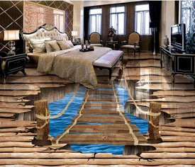 pvc self adhesive wallpaper 3d floor Pure wood split crack bridge vinyl flooring photo wall mural for living room 3d floor mural