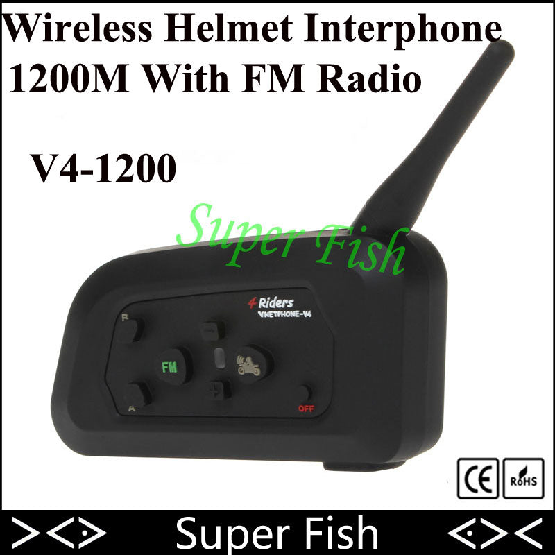 Vnetphone V4 Helmet Intercom Headset 1200M 4 Riders Intercomunicador Motorcycle Bluetooth Wireless Interphone With FM Radio - Trivoshop