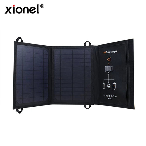Xionel 5V 11W Solar Charge Monocrystalline Solar Cell Foldable Outdoor Solar Power Charger Panels Usb Ports for Iphone for Ipad
