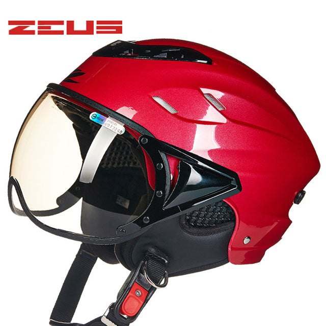 ZEUS Half Helmet,Electric Bicycle Helmet,Summer Motorcycle Helmet,Vintage Sctoor Half helmet with Anti UV lens