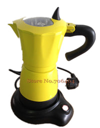 New fashion Red/Orange/Purple/Yellow aluminum electric Stovetop coffee maker mocha coffee pot espresso coffee machine