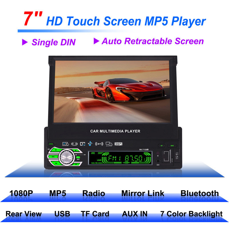 RK-7158B 1 DIN Car Radio MP5 Player HD 7 inch Retractable Touch Screen AM/FM Stereo Radio Tuner Car Monitor Bluetooth SD/USB