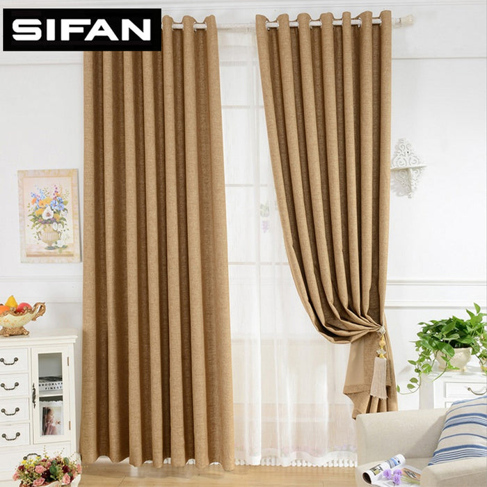 Modern Style Plain Solid Color Faux Linen Minimalist Blackout Curtains for Bedroom Living Room Window Curtains Custom Made