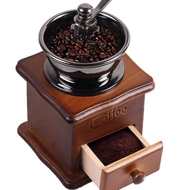 Wooden Handmade Coffee Grinder Retro Wood Design Coffee Mill Maker Stainless Steel Retro Coffee Machine Grinder Pepper Grinder