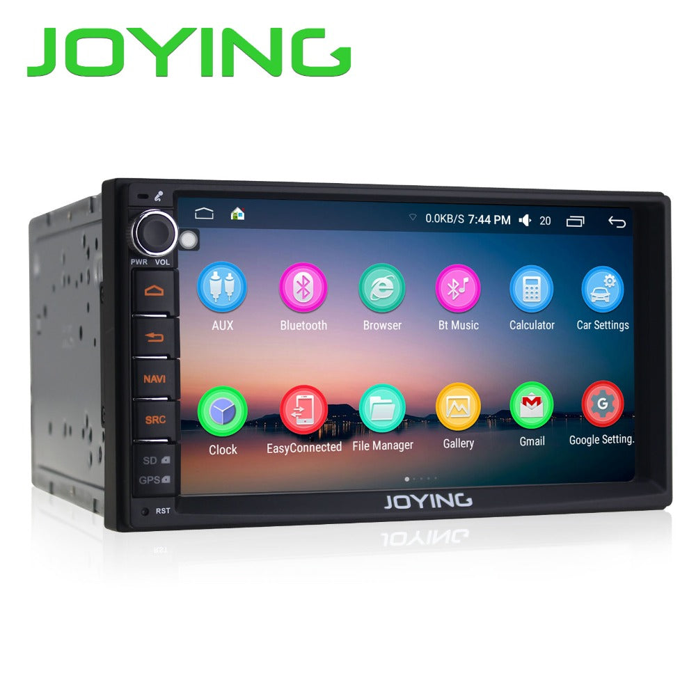 "Joying 7"" Double 2 Din Android 6.0 Media Player Universal Car Radio Stereo Quad Core GPS Navigator Head Unit Steering Wheel"