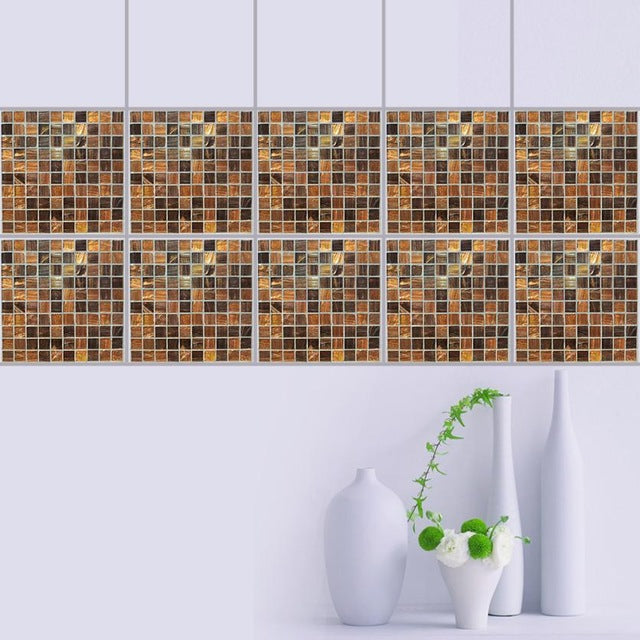 10Pcs Mosaic Square Self Adhesive Tile Stickers Decal Home Decorwall stickers home decor living room Drop shipping #XG - Trivoshop.com