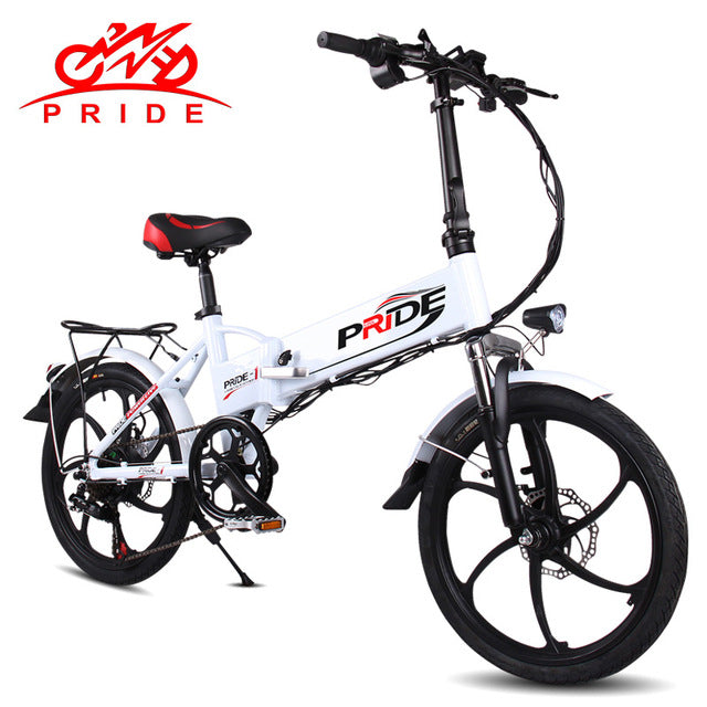 "Pride Electric bike 20"" Aluminum Folding electric Bicycle 250W 48V Lithium Battery  6 Speeds Powerful electric Mountain bike"