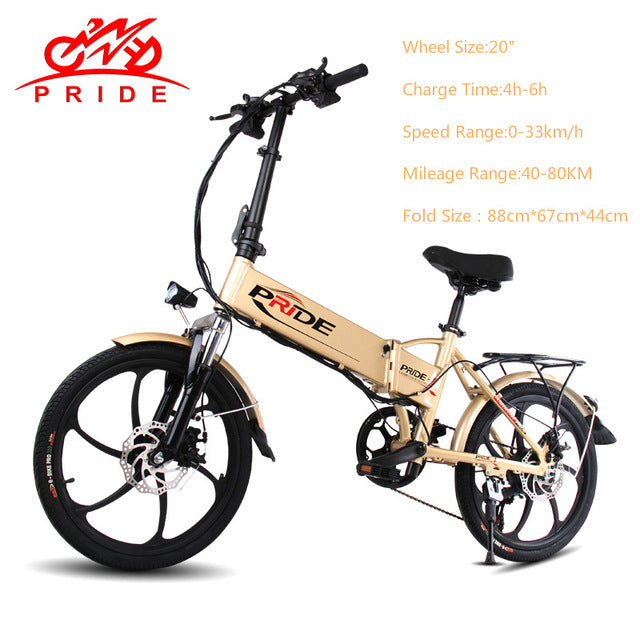 PRIDE Electric bike 48V Lithium Battery Aluminum Folding electric Bicycle 250W Motor 6Speeds e bike powerful electric Snow bike