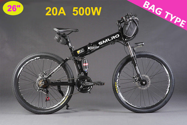"SMLRO 24/26"" 21 Speed 250/350/500W Strong Power Ebike, Electric Bike, Folding Electric Bicycle, Lithium Battery MTB"