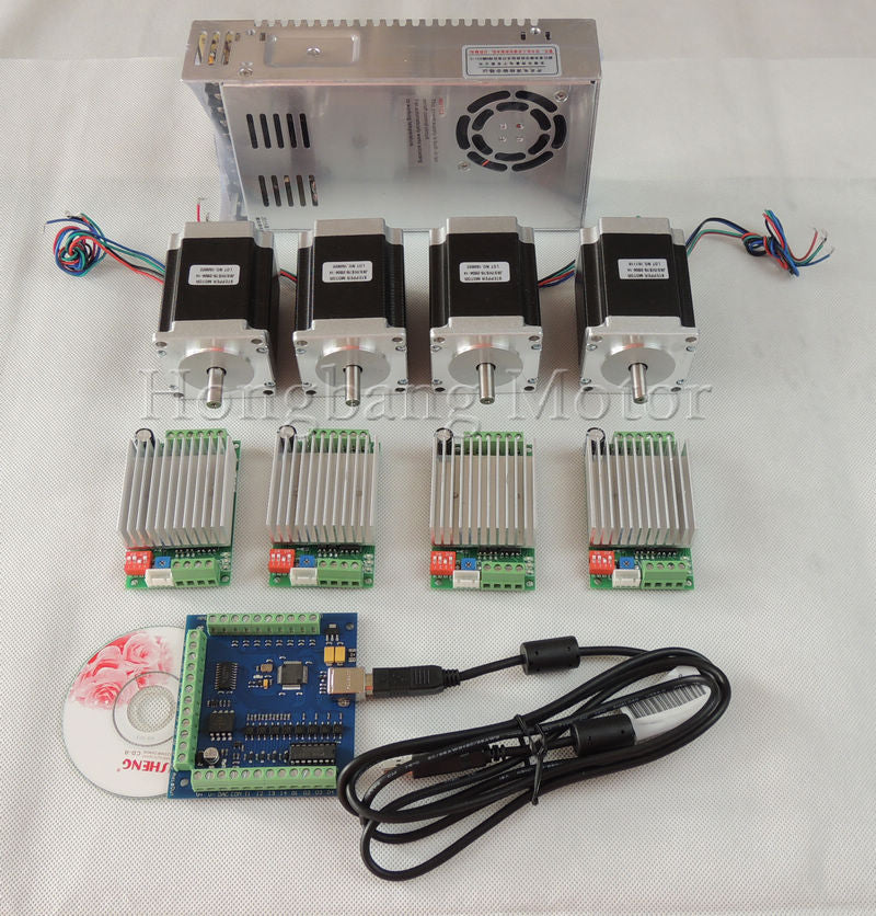 mach3 CNC USB 4 Axis Kit, 4pcs TB6600 driver+ USB stepper motor controller card 100KHz + 4pcs nema23 270oz-in motor+power supply