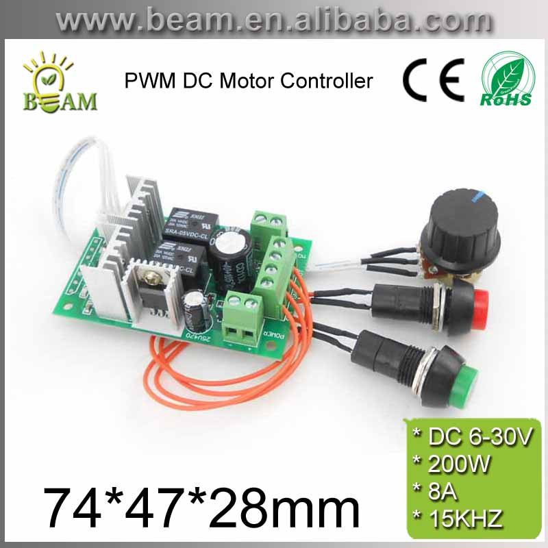 PWM DC Motor Controller 6V12V 24V Electric Drive Pusher Linear Actuator Motor Speed Regulator with Button and Positive Inversion - Trivoshop
