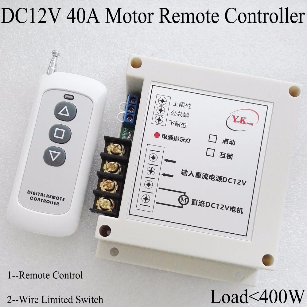 High Power 12V DC 40A 400W motor wireless remote control switch roller shutter door electric curtain Remote Forwards Reverse - Trivoshop
