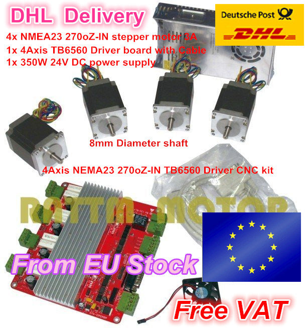 From EU/free VAT 4 NEMA23 270oz-in 1.8N stepper motor 3A & 4 axis TB6560 controller driver board for CNC Router Engraving