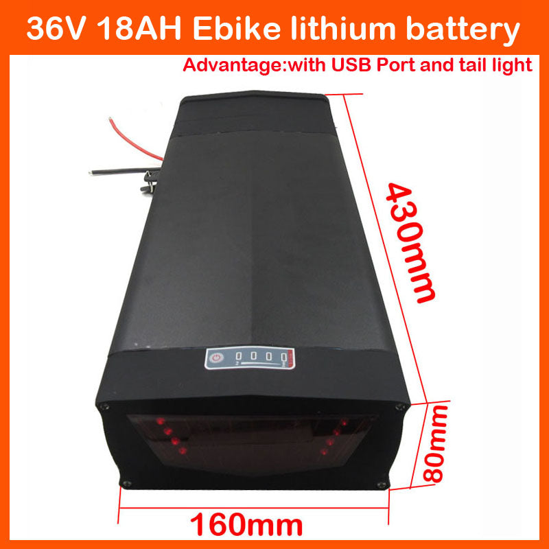 High quality 1000W 36V ebike battery 36V 18AH Lithium Battery Pack with 5V USB Port and tail light 30A BMS and 42V 2A Charger - Trivoshop