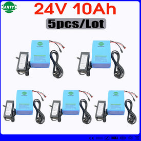 Wholesale 5pcs/Lot Lithium Battery 24v 10ah 350w eBike Battery Built in 15A BMS with 5pcs Charger Electric Bicycle Battery 24v - Trivoshop