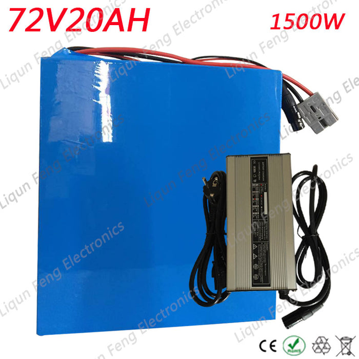 Free Shipping 72V 20AH 1500W Ebike battery 26650 Lithium battery pack 72V Electric bicycle battery with 84V 2A charger 30A BMS