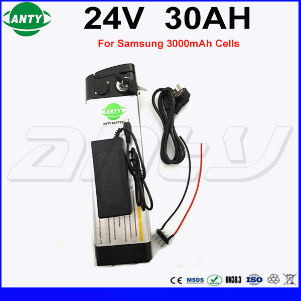 Lithium ion Battery 24v 30Ah 350w Built in 15A BMS for Samsung 18650 30B Cell with 2A Charger eBike Battery 24v Fast Shipping - Trivoshop