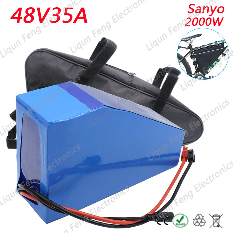 High quality 48V 35AH 2000W Triangle Lithium ion Battery use Sanyo Cell Ebike Battery fit 48V 750W/2000W bafang mid-drive motor - Trivoshop