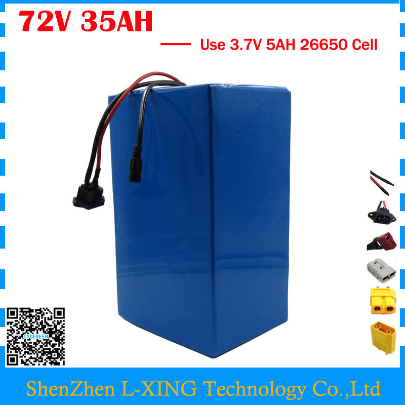High capacity 72V ebike battery 3500W 72V 35AH Lithium battery 3.7V 5AH 26650 Cell 50A BMS with 4A Charger Free customs tax