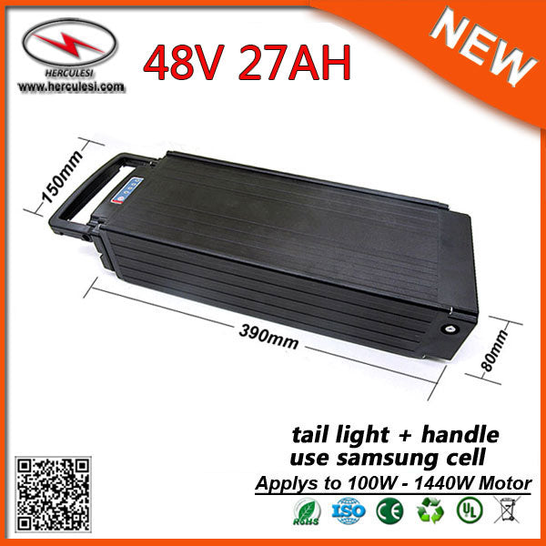 Lasting Long Cycle 48V Lithium Ion Battery Packs Rear Rack Ebike Battery 48V S amsung 27Ah for 1500W Motor with 2A / 5A Charger - Trivoshop