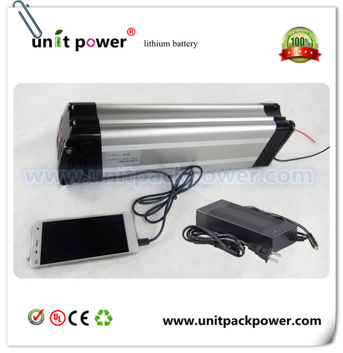 Hotest selling silver fish style with USB port ebike battery 48v 10ah lithium battery