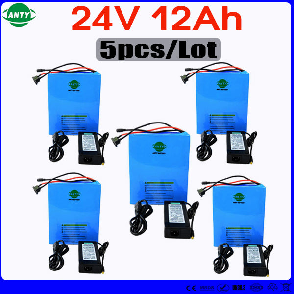 Wholesale 5pcs/Lot eBike Battery 24v 12ah 350w Lithium Battery Built in 15A BMS with 5pcs Charger Electric Bicycle Battery 24v