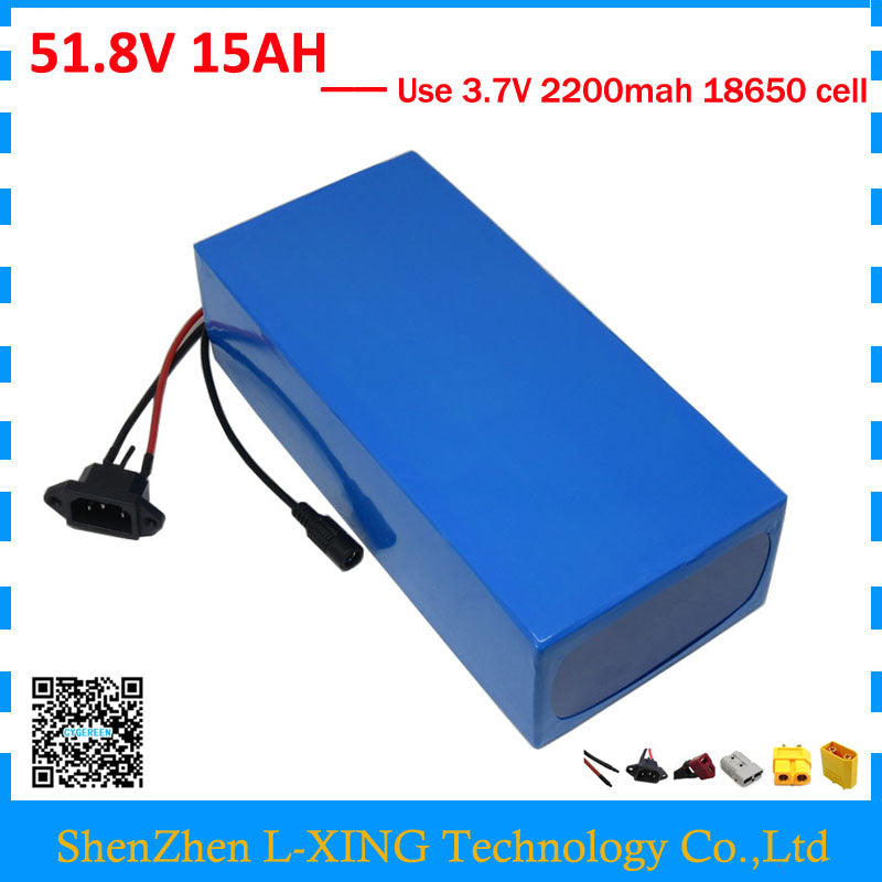 Free shipping 750W 51.8V 15AH lithium battery 52V 15AH Electric bicycle battery 52V 14S ebike battery 15A BMS 58.8V 2A Charger
