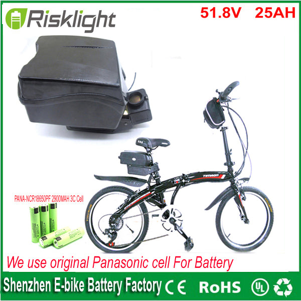 1000w 52v 25ah electric bicycle lithium ion battery 51.8v 25ah Frog case ebike battery with BMS and charger For Panasonic cell - Trivoshop.com