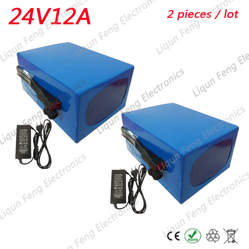Wholesale 2pcs/Lots 24V Battery 12AH 350W Ebike Battery Lithium Bicycle Battery With 29.4V 2A Charger 15A BMS 24V Battery Pack