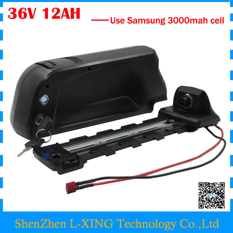 Free Shipping 36V 12AH EBike battery 36V lithium battery use Samsung 3000mah cell with 15A BMS with 42V 2A Charger