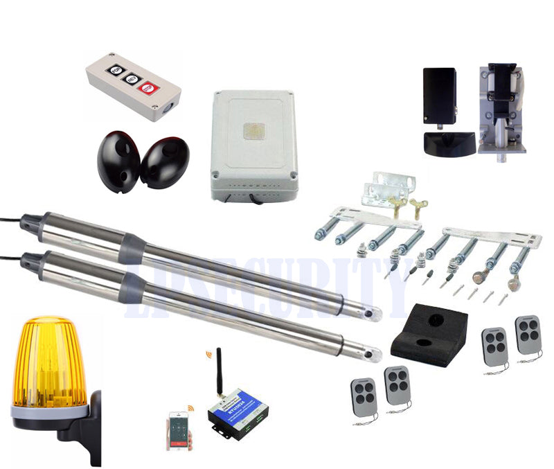Full kit DC24V swing electric motor con alarm light, photocells, gsm controller, swing lock, push button y 4 transmitter