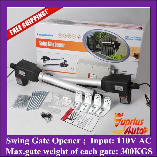 Stock Clearance ! Free Shipping 110V AC Input 300KGS double-leafs swing gate opener, stainless steel automation gate operator