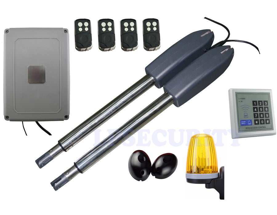 Solar Gate Opener Double Arm Swing Door Operator CE Approved with keypad photocells alarm lamp and 4 remotes