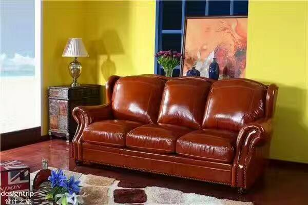 High quality cow top graded real genuine leather sofa/living room sofa furniture latest style home used three seat brown couch - Trivoshop