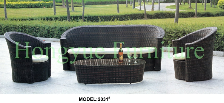 Brown rattan garden sofa furniture set with cushions