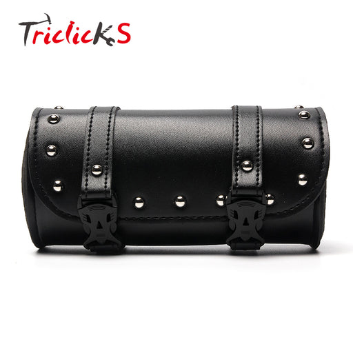 Triclicks Black Motorcycle Handlebar Sissy Bar Saddlebag Roll Barrel Tool Bag PU Leather Saddlebags New For Yamaha Harley Suzuki
