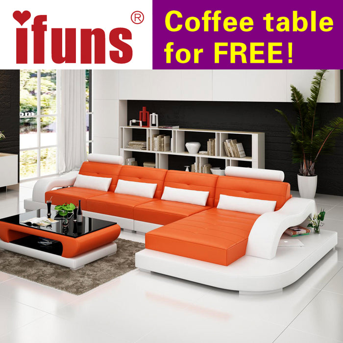 IFUNS european style corner sofa genuine leatherl shape chaise sectional sofa set living room furniture factory supply