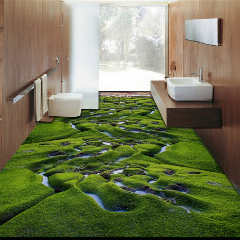 Free Shipping custom Grassland Creek Wetland Plant 3D Floor Painting square shopping mall street corridor Floor wallpaper mural