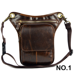HZYEYO Men's Cowhide Oil Wax Geunine Leather Travel Motorcycle Messenger Shoulder Hip Belt Fanny Pack Waist Thigh Drop Leg Bag