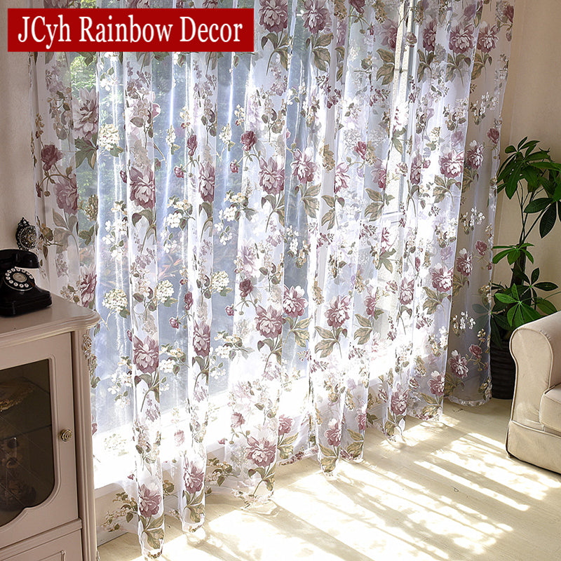 Living Room Purple Sheer Curtains