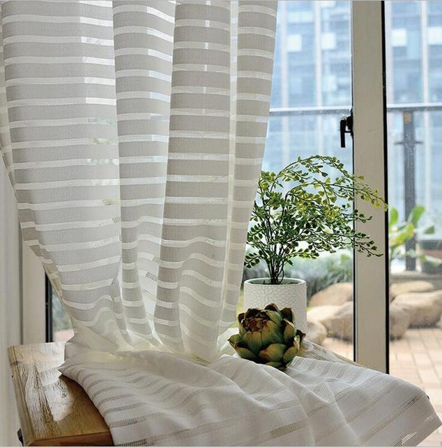 Sunny Solid Stripe Voile Window Sheer Curtains for Livingroom Bedroom GIGIZAZA Tulle Drape Stripe Process White Color